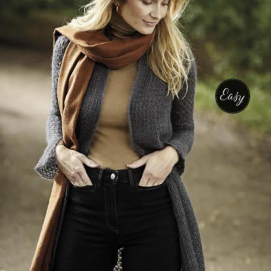 Crochet long cardigan