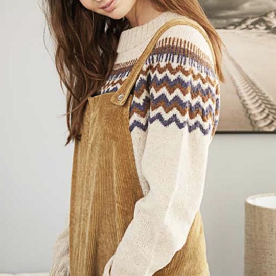 Top Down Sweater med rundt bærestykke