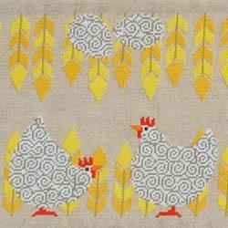 Fru Zippe Table Cloth White Hens 770282 Weiße Hühner und Eier