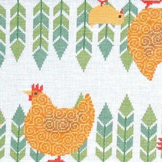 Fru Zippe Table Cloth Brown Hens 770283 Braune Hühner und Küken