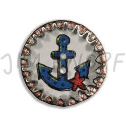 Jim Knopf Button from recycled crown cap anchor motiv 26mm Blau auf Weiß