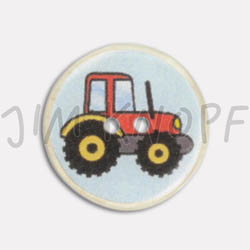 Jim Knopf Resin button with tractor motiv Rot
