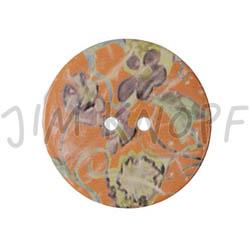 Jim Knopf Large coco wood button with flower motiv 40mm Orange
