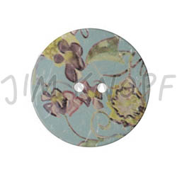 Jim Knopf Large coco wood button with flower motiv 40mm Türkis