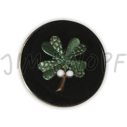 Jim Knopf Resin button flower motiv 18mm Grün auf Schwarz