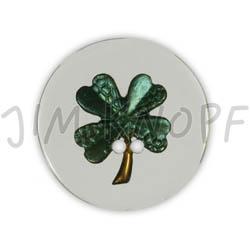 Jim Knopf Resin button flower motiv 18mm Grün auf Transparent