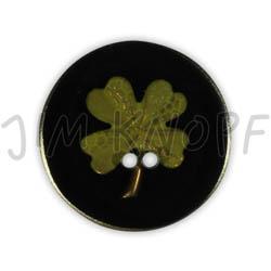 Jim Knopf Resin button flower motiv 18mm Hellgrün auf Schwarz