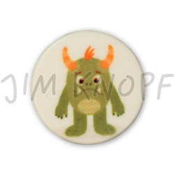 Jim Knopf Colorful plastic button space motiv 18mm Monster Grünling