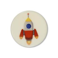 Jim Knopf Colorful plastic button space motiv 18mm Rakete Orange
