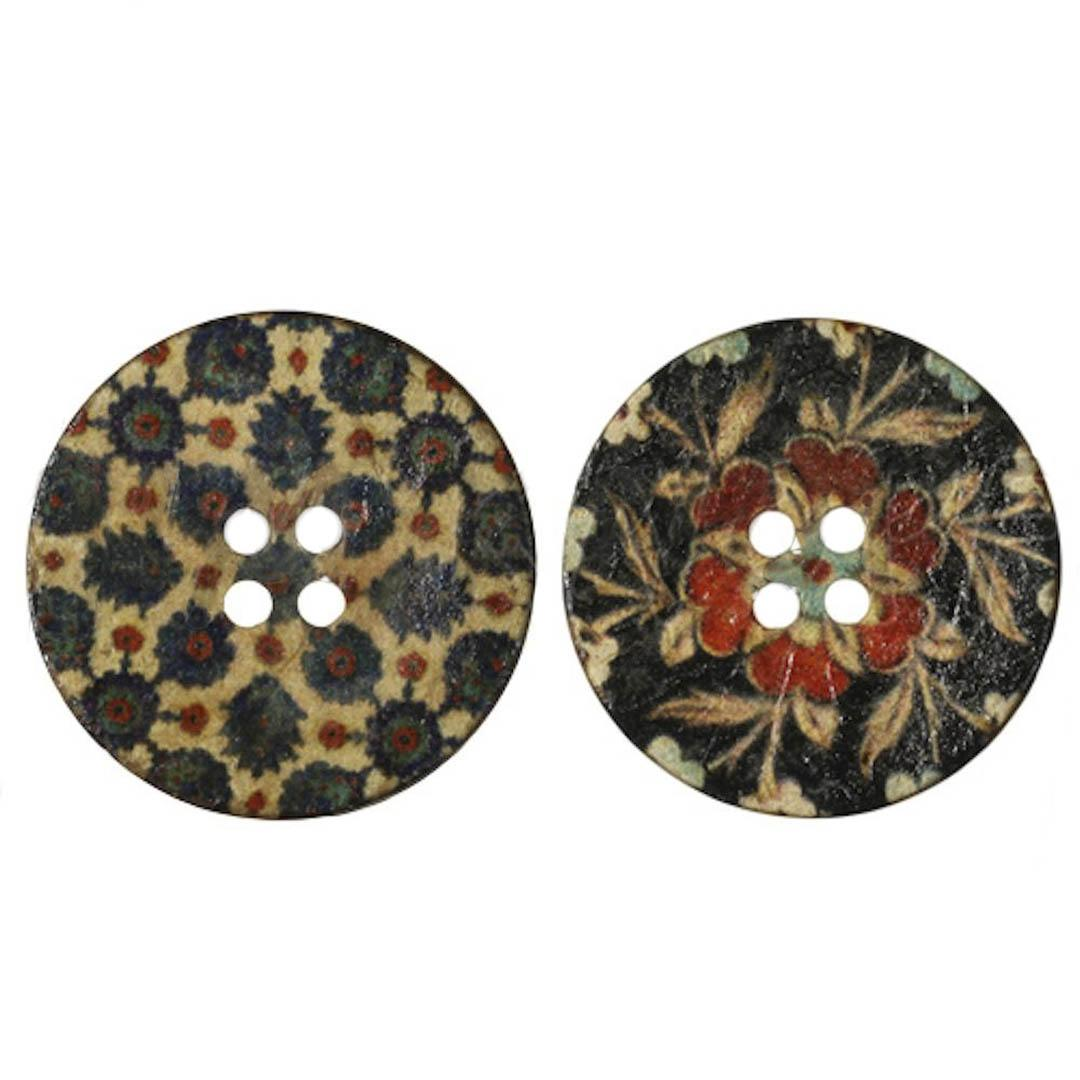 Jim Knopf Coco wood button flower motiv in several sizes