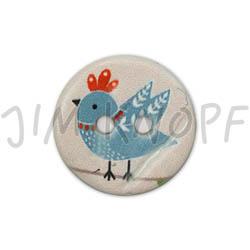 Jim Knopf Coco wood button cute birds 16mm Blau