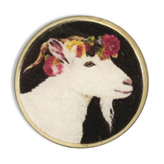 Jim Knopf Resin button goat Hanna 23mm Schwarzer Grund