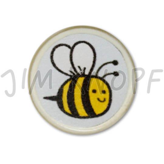 Jim Knopf Resin button with busy bee motiv 18mm Hellblauer Grund