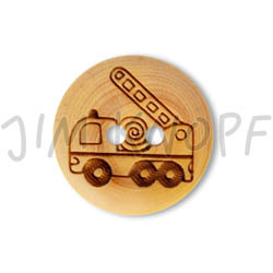 Jim Knopf Wood button mouse or rabbit 32mm Feuerwehrauto