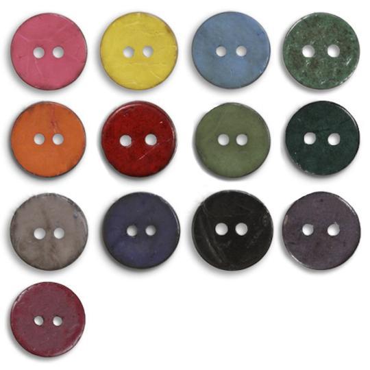Jim Knopf Cocosknopf flach gefärbt 23 mm
