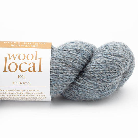 Erika Knight Knit Kits Wool Local Hat with pattern sleeves Bennett Pale Blue Deutsch
