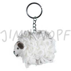 Jim Knopf Felted keyring sheep Weiß