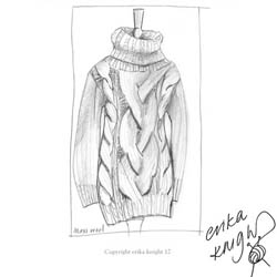 Erika Knight Discounted Printed Patterns for Maxi Wool discontinued designs Cable Stitch Maxi Sweater Englisch