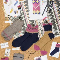 Erika Knight Printed patterns British Blue 100g discontinued designs K3 Socks ENG