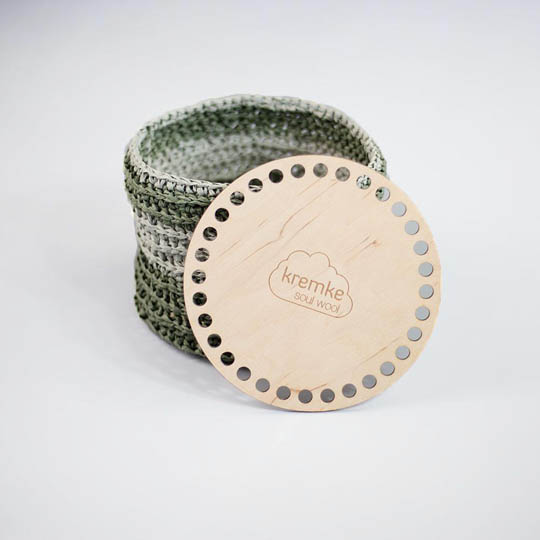 Kremke Soul Wool Wooden bottom for crocheting containers